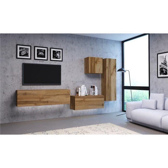 VIVIO - Ensemble meubles TV à suspendre - 4 pcs - Mur TV avec rangements salon/séjour - Unité murale moderne - Aspect bois - Chêne