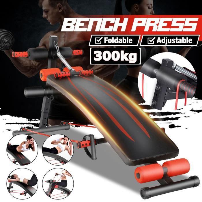 Banc de musculation Pliable Réglable Abdominaux et dorsaux Charge max 300kg
