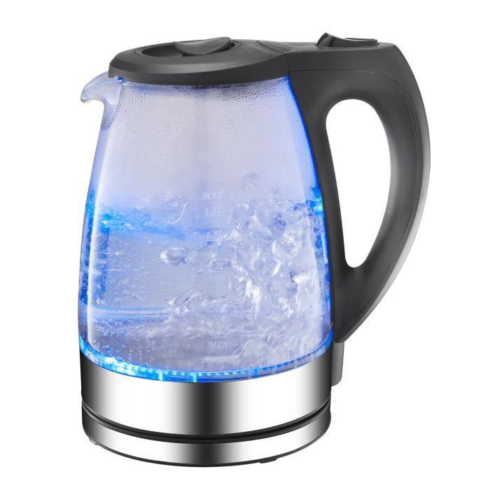 Bouilloire électrique portative en verre 1.7L avec lumière LED bleue et base en acier inoxydable appareils045