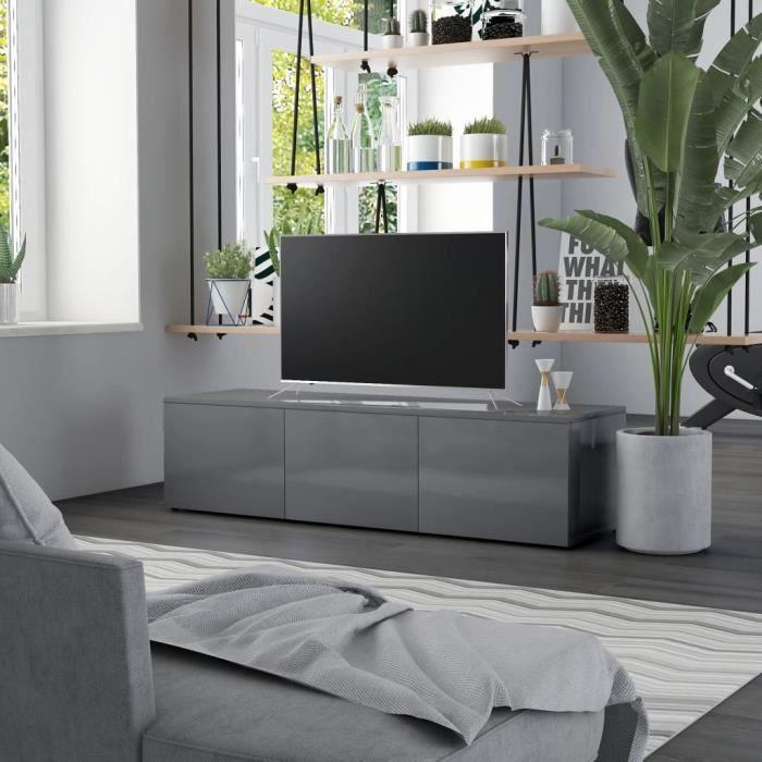 Neuf&3225Meuble TV Gris brillant 120x34x30 cm Aggloméré Meuble TV Gris brillant 120x34x30 cm Aggloméré