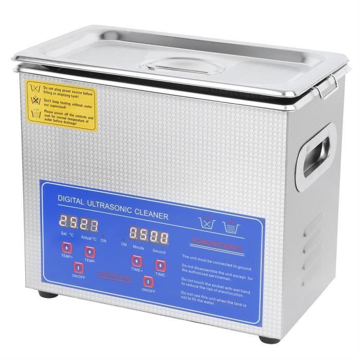 Zoomind® 3L Nettoyeur à Ultrasons Appareil de Nottoyage Ultrasonique Professionnel en Acier Inoxydable pour Nettoyage Lunettes