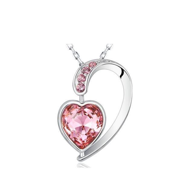 Pendentif Coeur en Cristal de Swarovski Elements Rose et Plaqué Rhodium