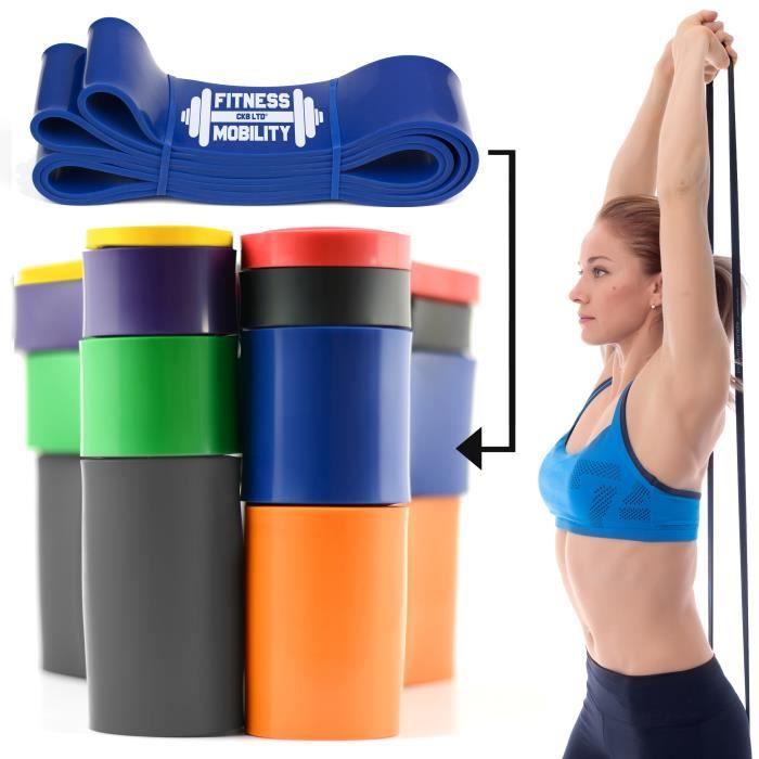 CKB LTD® Fitness 60-150lb Resistance Band 6.4 cm BLUE BLEU - SINGLE BAND - Bande De Résistance Bande Elastique Pour Yoga Pilate Musc