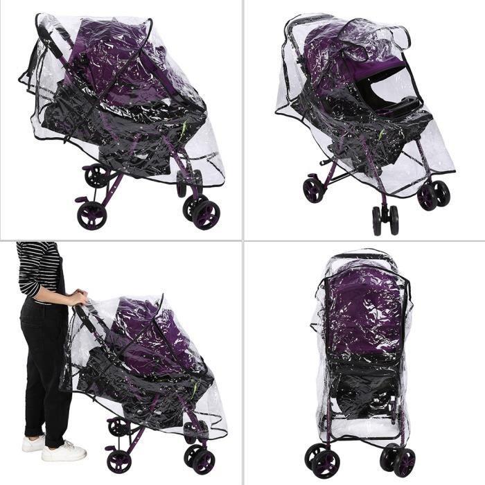 Housse de Pluie pour Poussette et Landau Universelle Habillage Pluie en PVC Protection de bébé -JID-ROE
