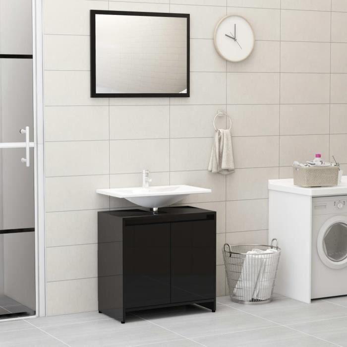FAS Ensemble de meubles de salle de bain Noir brillant Aggloméré