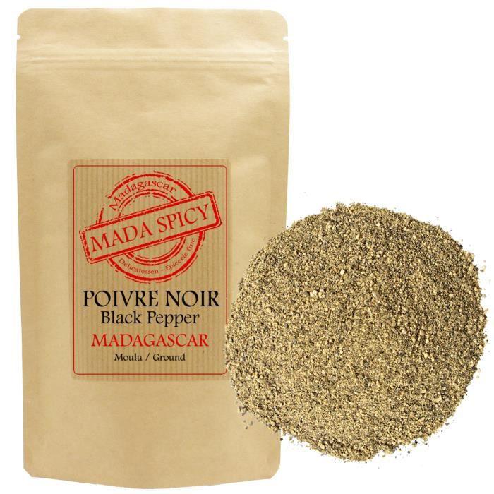 Poivre noir moulu de Madagascar -sachet kraft refermable- 200gr. Agriculture durable.