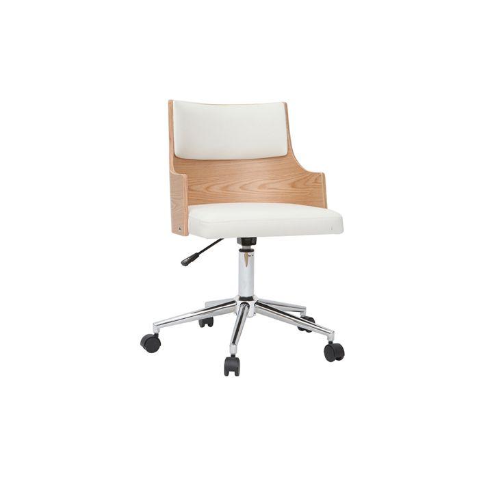 Miliboo - Chaise de bureau design blanche et bois clair avec coussin intégré MAYOL