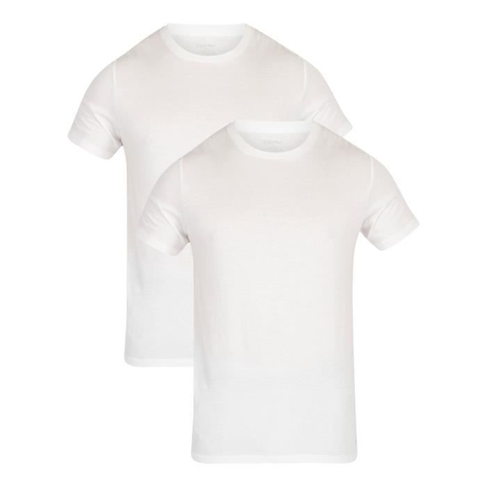 Calvin Klein Homme Paquet de 2 t-shirts en coton, Blanc