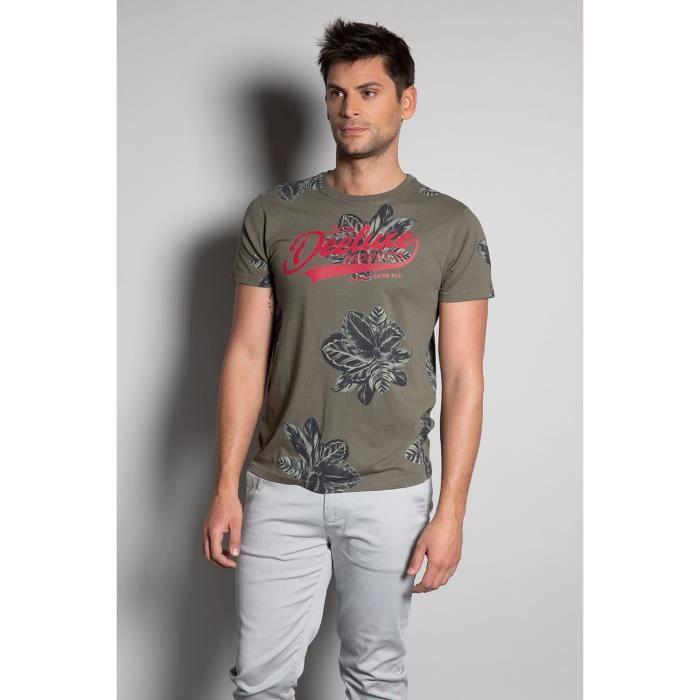 DEELUXE T-shirt à motif floral et logo STUNNING Khaki