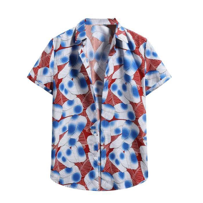 Cardigan à manches courtes pour hommes Chemise de plage Vin6174