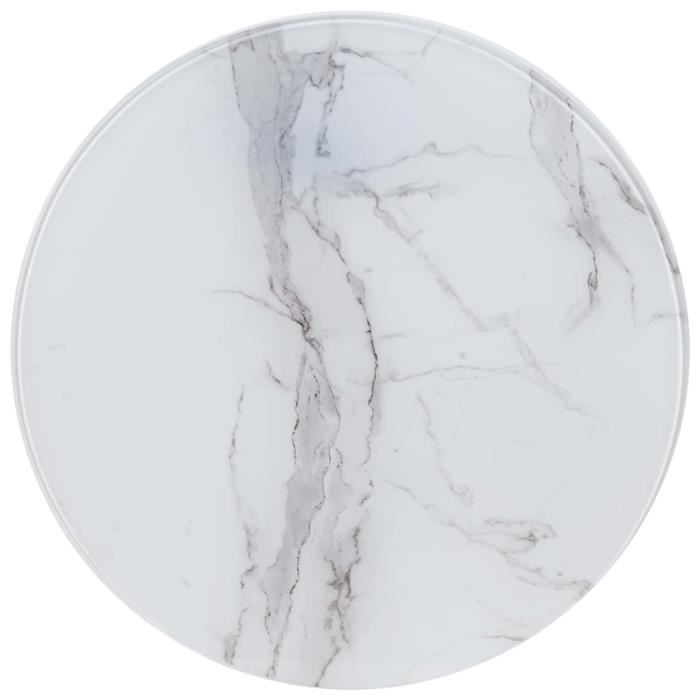 Luxueux Magnifique-Dessus de table Plateaux Blanc ?50 cm Verre avec texture de marbre