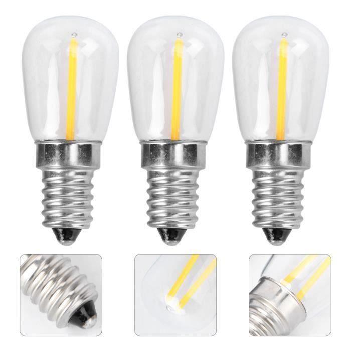 3PCS E14 LED Ampoules 220V 1.5W Réfrigérateur Lampes Couvercle En Verre (2700K Blanc Chaud) REFRIGERATEUR AMERICAIN