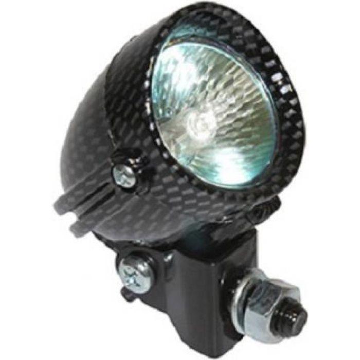 Feu halogène orientable 12V 20W Replay coloris carbone moto 50 à boite mob