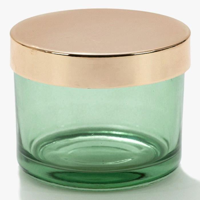 Boîte verte - Swome - en verre et couvercle métal doré H8,2 x Diam 10,4 cm VIDE POCHE