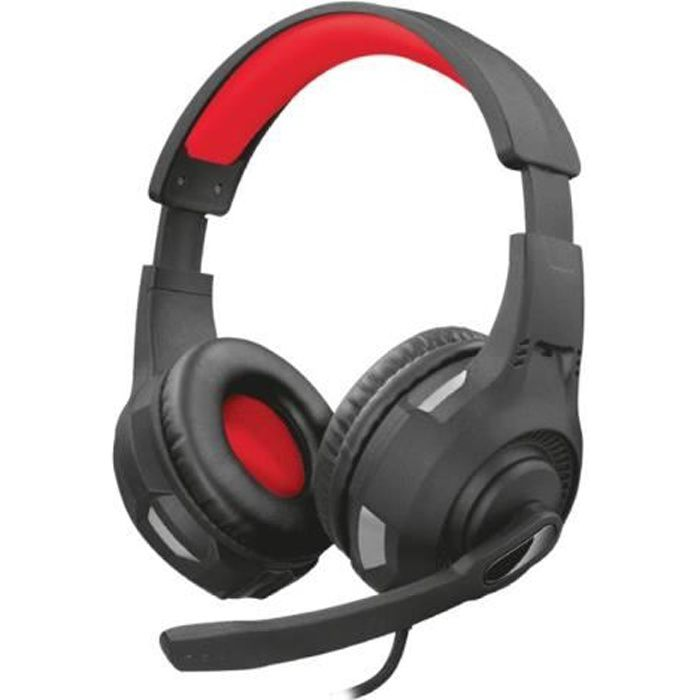 TRUST Casque gaming GXT 307 - Noir et rouge - Coussinets circum-auraux souples et confortables