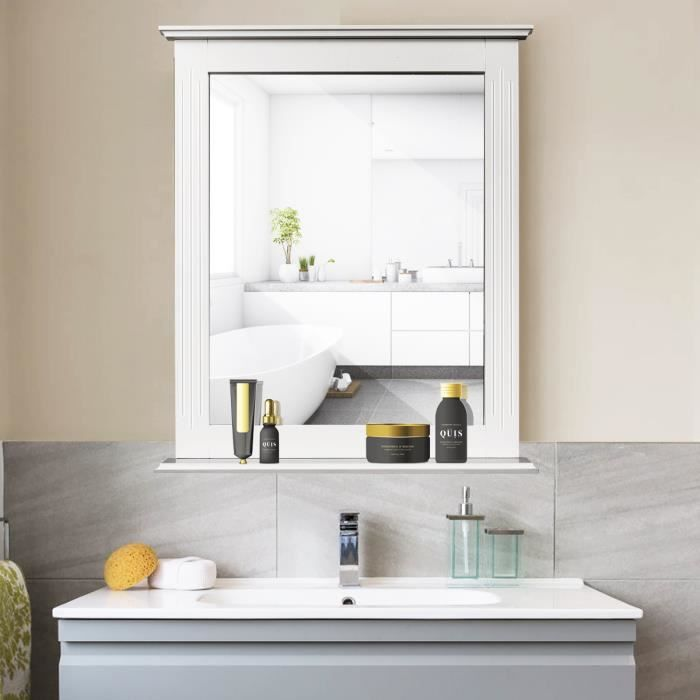 Miroir avec tablette blanc salle de bain