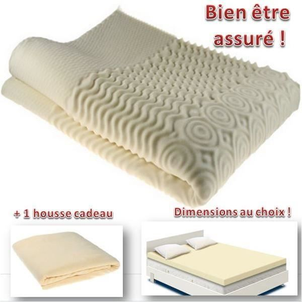 surmatelas mousse m moire de forme 80 x 200 cm bien tre sommeil confort housse achat. Black Bedroom Furniture Sets. Home Design Ideas