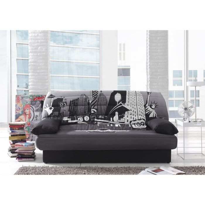 coco banquette clic clac 3 places tissu polyester. Black Bedroom Furniture Sets. Home Design Ideas