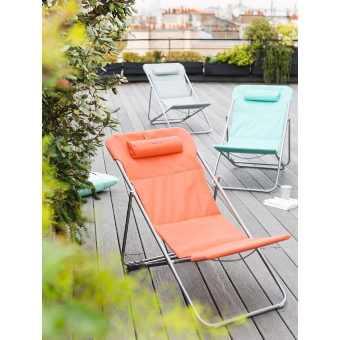 Chilienne pliante bilbao orange corail hesperide achat for Chaise longue jardin hesperide