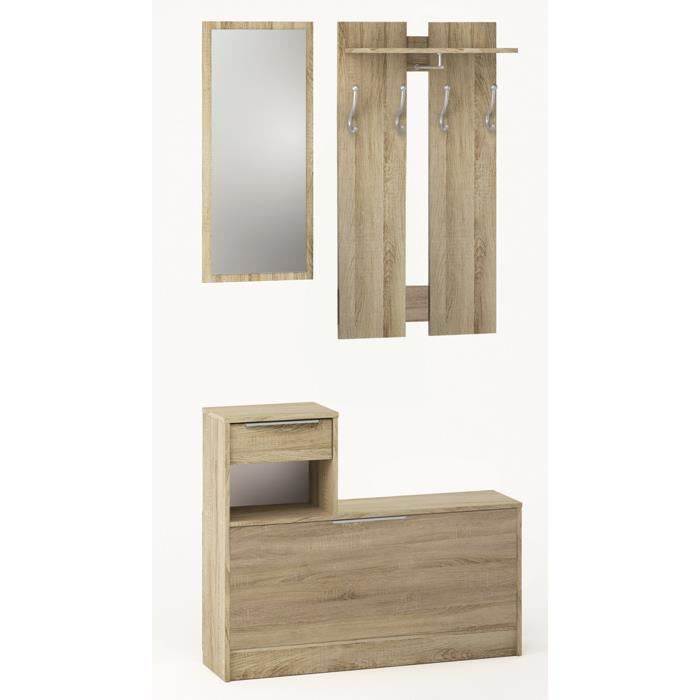 vestiaire miroir 1 tiroir et 1 abattant en bois ch ne bross achat vente meuble d 39 entr e. Black Bedroom Furniture Sets. Home Design Ideas