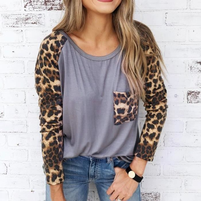 Blouse Loose Shirt Print Pullover Long Gris Leopard Casual Womens Sleeve Tops F1J3lKuTc