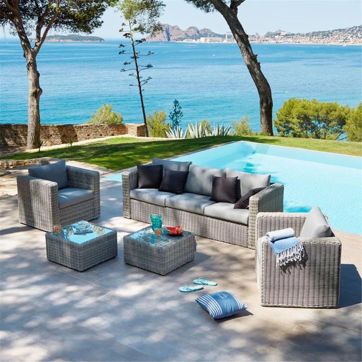 Santorini Salon de jardin gris effet rotin tressé (6 places ...