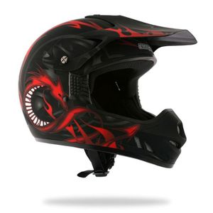 CASQUE MOTO SCOOTER AMX Casque Cross DRAGON KID Déco Noir