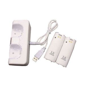 DOCK DE CHARGE MANETTE Station de charge Duo pour Manette Nintendo Wii Bl