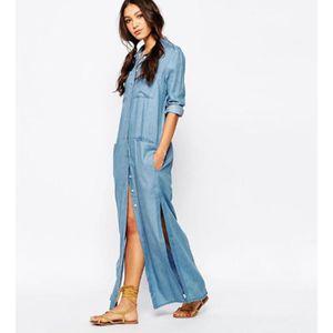 haute qualité bonne qualité boutique officielle Chemise Femme Denim Longue Maxi Robe Sexy Boyfriend Tunique ...