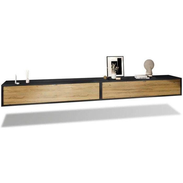 Ensemble de 2 set meuble TV Lana 140 armoire murale lowboard 140 x 29 x 37 cm, caisson en Noir mat, façades en Chêne Nature