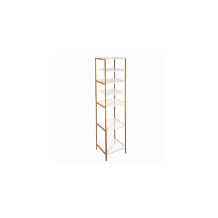 Etagère modulable 6 niveaux - L 35 x l 32 x H 145 cm - Bambou - Blanc