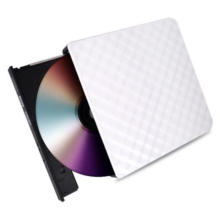 Graveur Lecteur de DVD externe USB 3.0 haute vitesse Lecteur de CD-DVD-RW Blanc