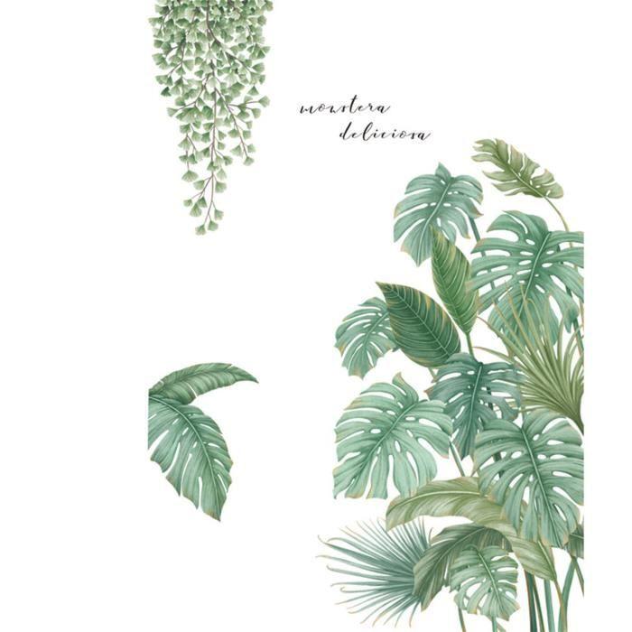 Tonsee® Plantes tropicales feuilles petite maison fraîche décoration de porte autocollants muraux papier peint _cdt3121