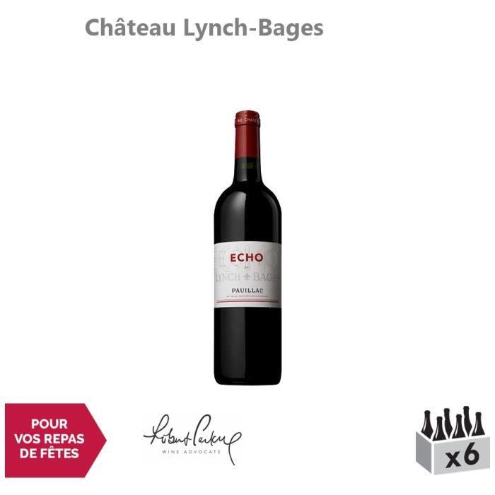 Château Lynch-Bages Echo de Lynch-Bages Rouge 2016 - Lot de 6x75cl - Appellation AOC Pauillac - Vin Rouge de Bordeaux - 16-20