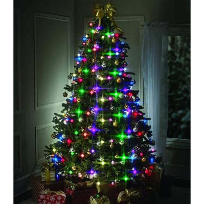 Guirlande Lumineuse Multicolore pour Sapin de Noël, 64 LED Boules Guirlandes Décoration Intérieur Pour Noël Jardin Mariage