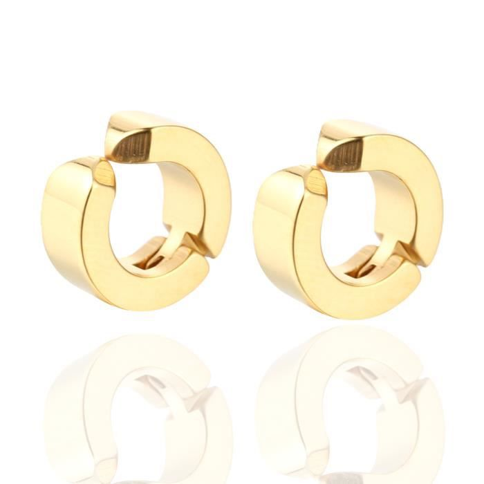 1 paire hommes femmes oreille clip en acier titane sans piercing boucles d'oreilles sans oreilles percées Or