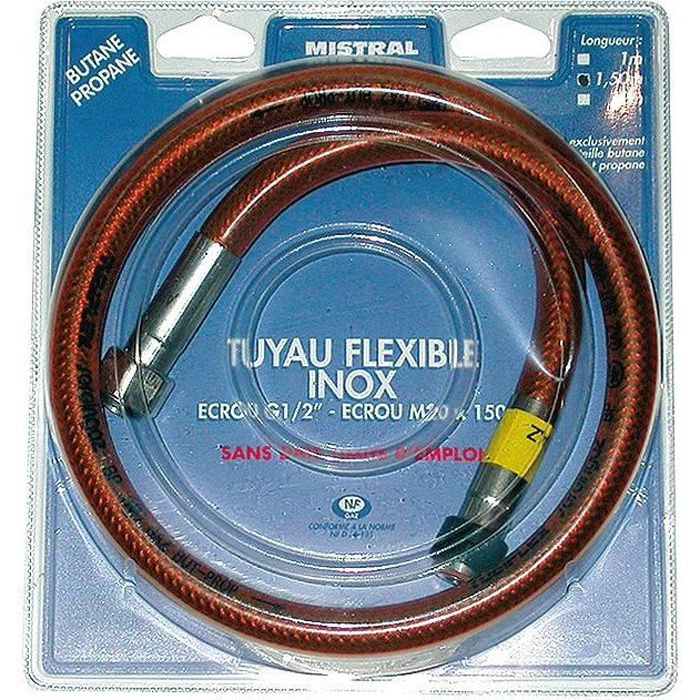 Tuyau gaz butane et propane - flexible - inox - 1.5 m