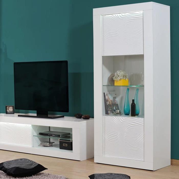 Vitrine lumineuse design blanc laqué KARL Blanc L 80 x P 45 x H 190 cm