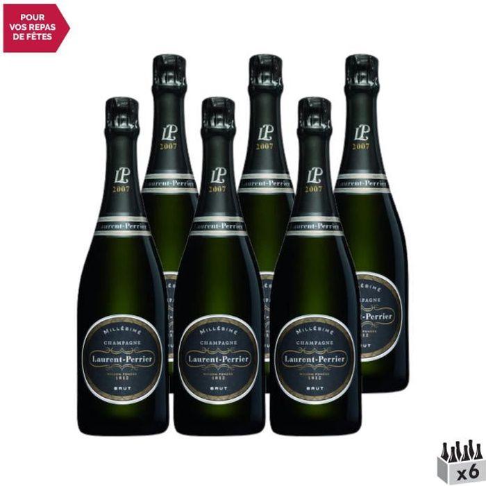 Champagne Brut millésimé Blanc 2007 - Lot de 6x75cl - Champagne Laurent-Perrier - Cépages Pinot Noir, Chardonnay