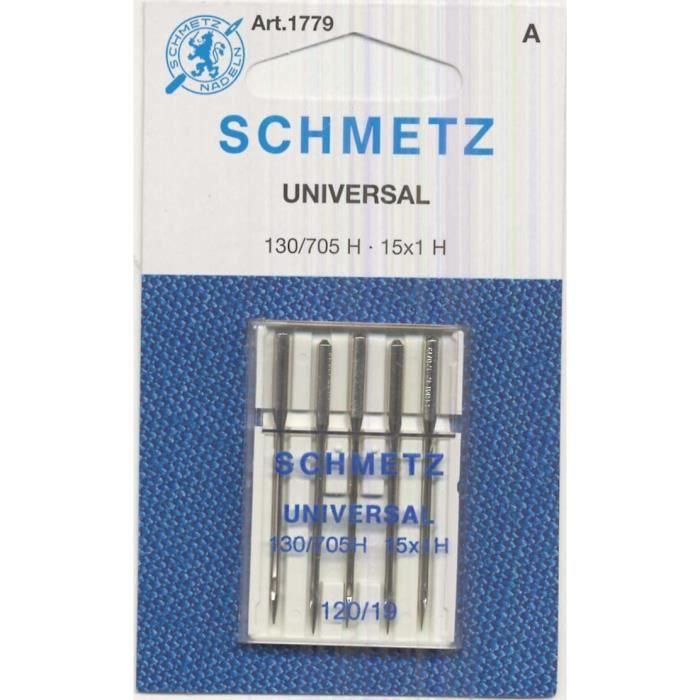 Schmetz 5 aiguilles universelles pour machine à coudre 130/705 size 120/19
