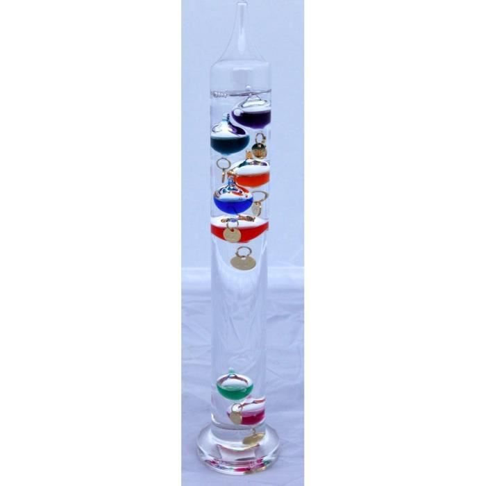 Thermomètre Galileo sur pied de 30 cm de hauteur (couleurs multiples)