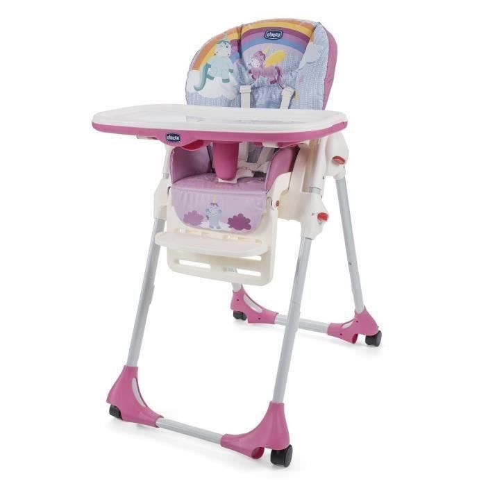 CHICCO Chaise haute polly easy 4 roues unicorn