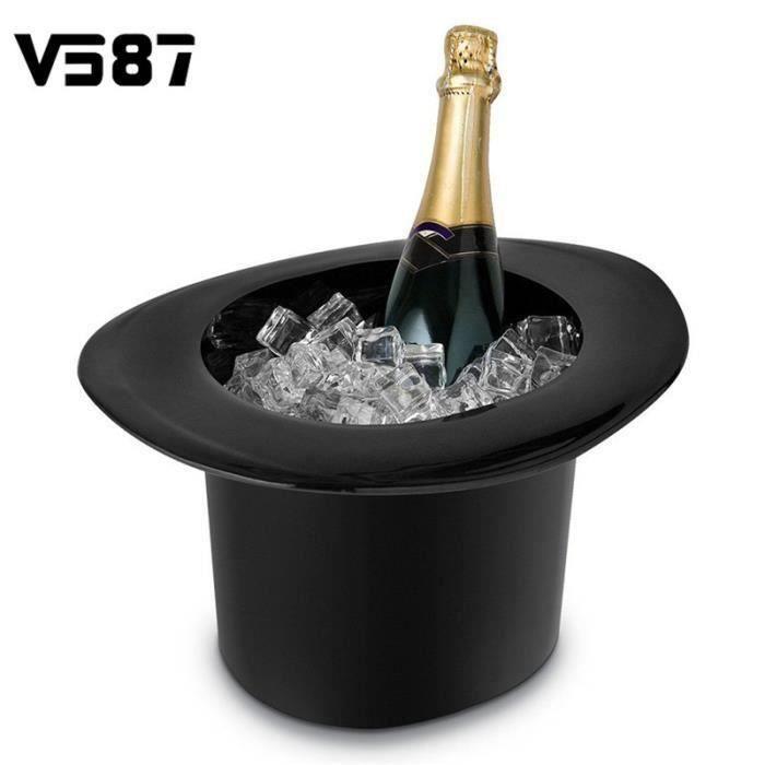 2 x 1.2L Seau à Glace Bouteille Chapeau Magique Champagne Bière Vin Rouge Cocktail Tonneau Acrylique Non Toxiques Noir co35338