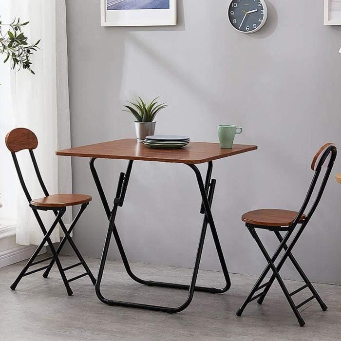 Un meuble Zhyaj Ensemble De Meubles De Jardin-Ensembles De Meubles De Terrasse - Table De Repas Pliante Et 2 Chaises,Marron,80cm28
