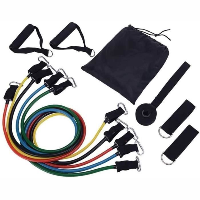 Set de 11 pcs Fitness corde élastique Musculation Bande élastique Tpe + Crochet en aluminium
