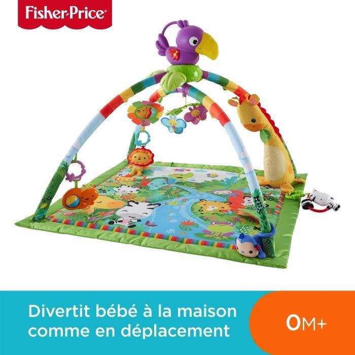 Fisher-Price Tapis Musical d'Éveil de la Jungle pour Bébé, avec Plus de 10 Jouets et Activités, Musique et Lumières Dansantes, dès
