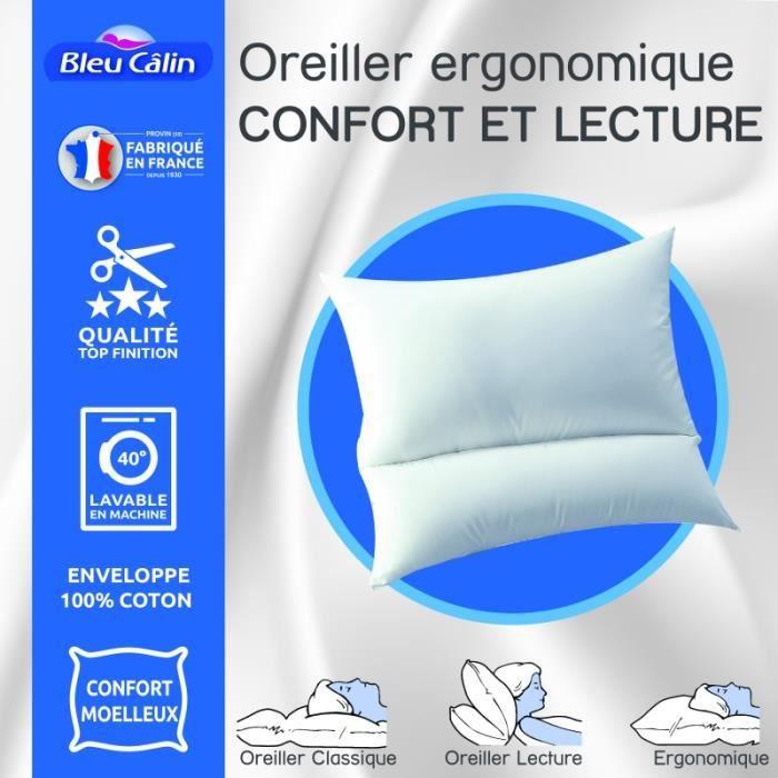 Oreiller ergonomique confort et lecture -Bleu Calin-