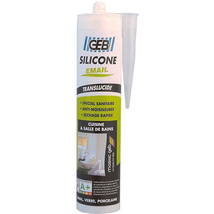 Mastic sanitaire - silicone pour émail - translucide - 280 mL