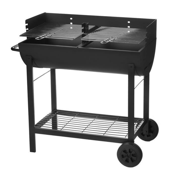 Barbecue rectangulaire à charbon de bois Noir 86.00 cm x 47.00 cm x 94.00 cm
