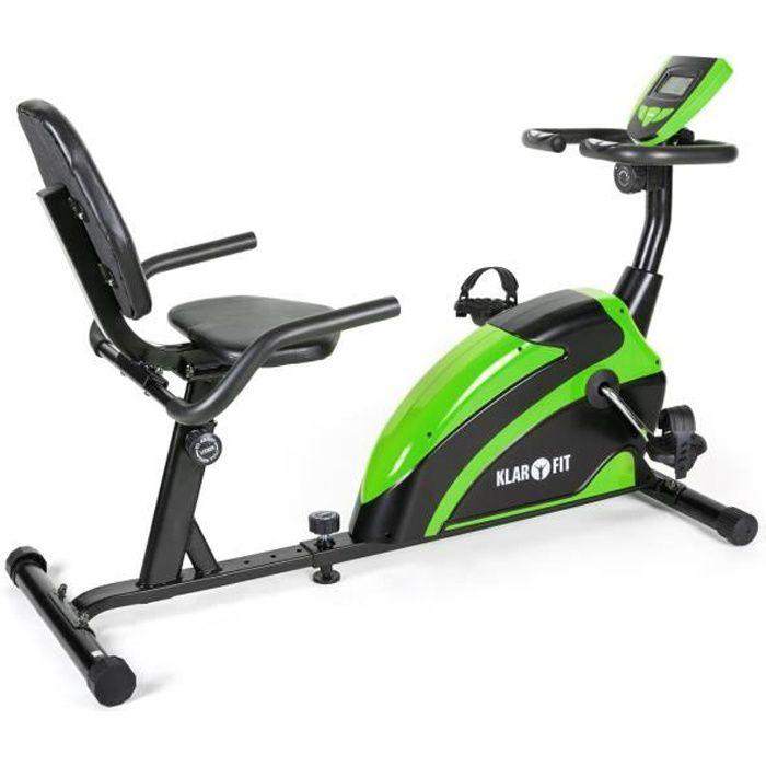 Klarfit Relaxbike 5G Vélo d'appartement / ergomètre compact avec pulsomètre, ordinateur de bord et 8 niveaux (